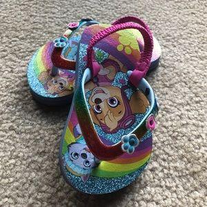 ⭐️4/$25- Toddler Girl's 5/6 Paw Patrol Flip Flops